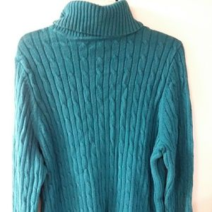 Turquoise, turtleneck, cable knit sweater